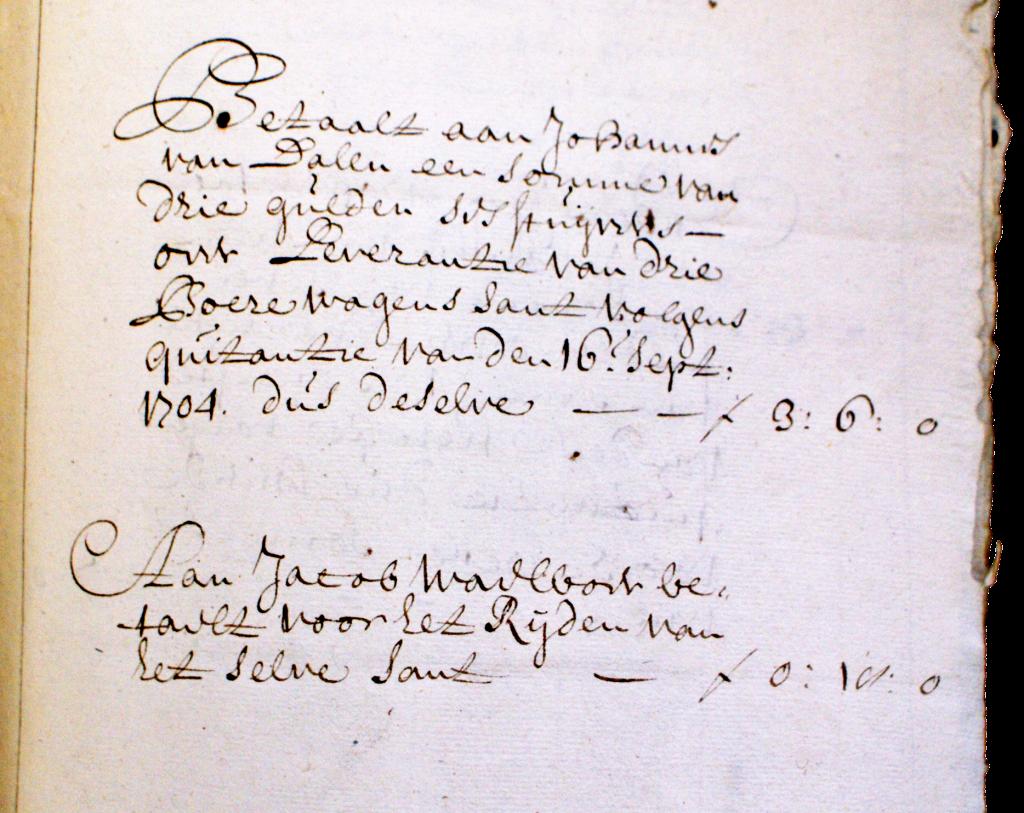 Afrekening voor Jacob Waalboer voor het rijden van zand in 1650.